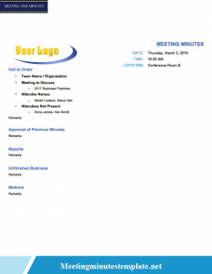 Simple Board Meeting Minutes Template