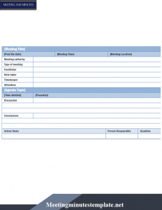 Format For Corporate Meeting Minutes Template in Word