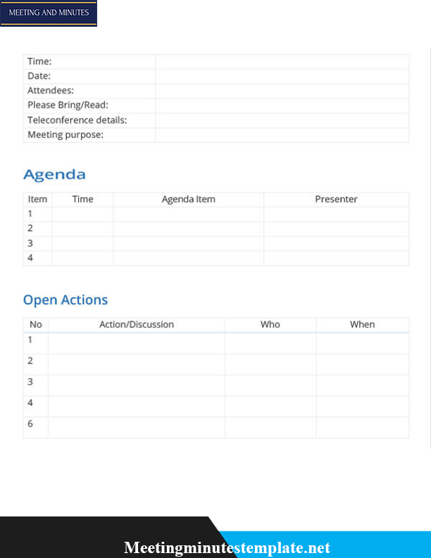 Professional Meeting of Minutes Template